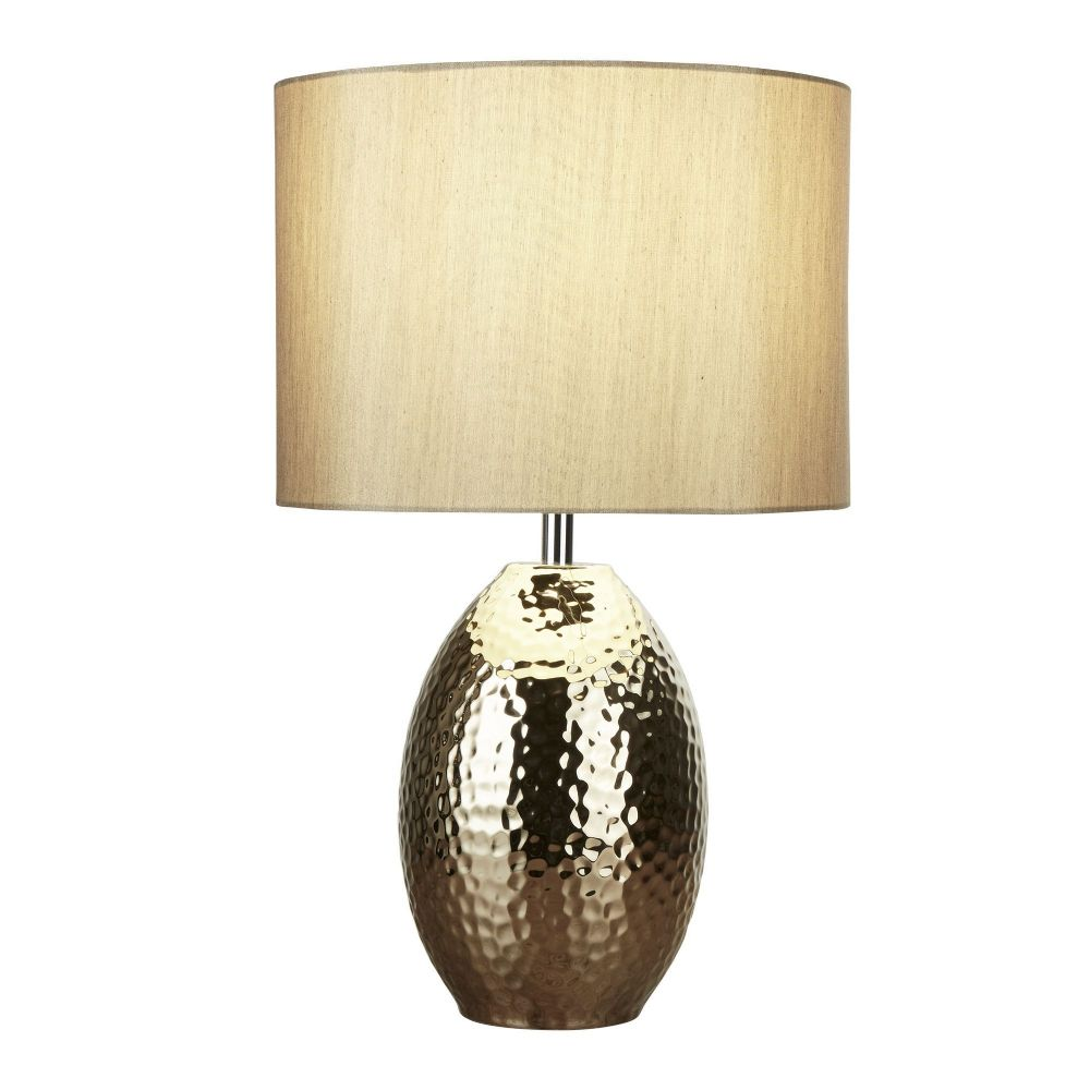 Brookside Table Lamp - Ceramic Hammered Gold Base With Faux Silk Gold Drum Shade Bx4547Go-17
